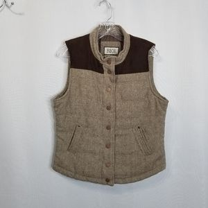 BKE Two- toned Brown Snap Button Vest